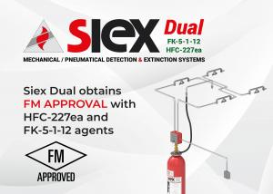 Siex Dual obtains FM APPROVAL with HFC-227ea and FK-5-1-12 agents